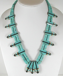 Authentic Native American Vintage Turquoise inlay feather necklace by Santo Domingo artists Rudy and Mary Coriz