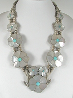 Authentic Native American vintage mother of pearl flower necklace by Zuni artists Rosita and Anselm Wallace