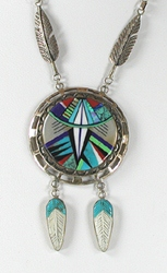 Inlay Shield Feather Pendant sterling silver and multi-stone inlay 22 inch