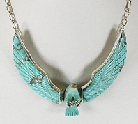 Authentic Native American Vintage Mary Livingston sterling silver and turquoise eagle necklace