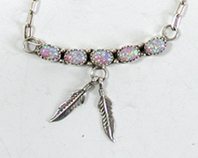 NOS Sterling Silver and Opal with Feathers Necklace