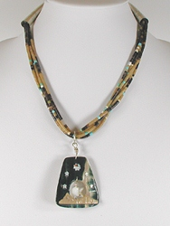 5-Strand heishi necklace with window pendant 18 inch