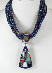 Authentic Native American 7-Strand Lapis Necklace with stone inlaid pendant and bail by Chris Nieto, Santo Domingo Puelblo