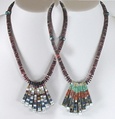 Authentic Native American Double Sided Mosaic Inlay Tab Necklace by Charlene Reano, San Felipe
