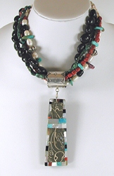Authentic Native American Four Strand Treasure Necklace with Elimia Agate Inlay Pendant by Isaac Coriz, Kewa Santo Domingo