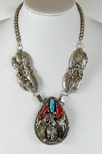 Authentic Native American vintage turquoise and coral claw necklace by Navajo artist Glen Adakai