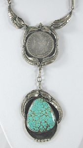 Vintage silver dollar and spiderweb turquoise necklace