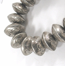 Vintage sterling silver graduated stamped  bead necklace