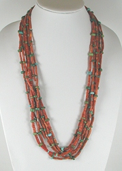 Vintage coral and turquoise 6 strand necklace 26 inch