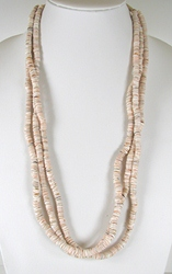 Vintage clam shell heishil necklace 26 inch