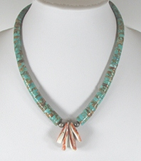 Vintage turquoise heish chokeri necklace with orange spiny oyster tabs 19 inch