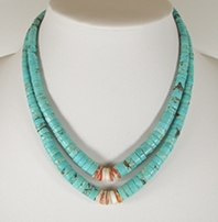 Vintage turquoise heish chokeri necklace with orange spiny oyster center 16 inch