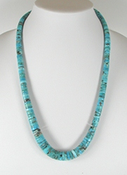 Vintage graduated turquoise heishi necklace 24 inch