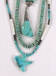 lot of three vintage necklaces, turquoise, coral and shell heishi
