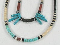 lot of two vintage necklaces, turquoise, coral and shell heishi