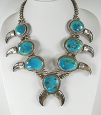 vintage turquoise and claw necklace