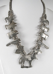 vintage Navajo sterling silver squash blossom style animal necklace by Ella Peter
