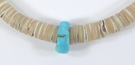 shell heishi and turquoise choker 17 inch
