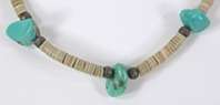 shell heishi and turquoise choker 15 inch