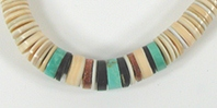 vintage shell heishi, turquoise, pipestone choker 15 inch