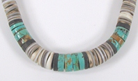 vintage shell and turquoise heishi choker 18 inch