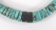 turquoise and jet heishi choker 17 1/2 inch