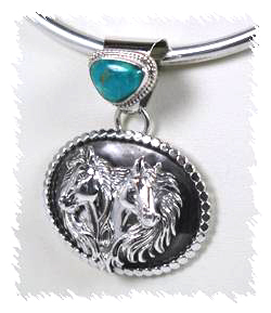 Turquoise horse pendant navajo pawn jameson ben and harry for Mural jewellery