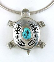 Native American Sterling Silver and Turquoise Shadowbox Turtle pin pendant by Navajo Benson Ration