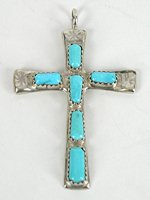 Authentic Vintage Native American  Sterling Silver and Turquoise Cross pendant by Zuni Wilbur Iule