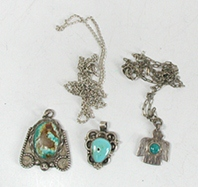 Three vintage Sterling Silver and turquoise pendants with two chains