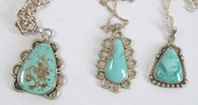 Three vintage Sterling Silver and turquoise pendants with chains