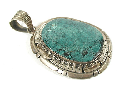 Native American Turquoise Silver Pendant Native American silver pendant