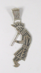 Authentic Native American Large sterling silver kokopelli Pendant by Navajo artist Richard Singer