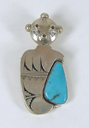 Authentic Native American sterling silver Turquoise Kachina Pin Pendant by Navajo artist Nathan Morgan