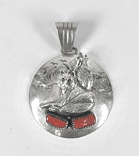 Authentic Native American NOS  sterling silver Coral Wolves Pendant by Running Bear Trading Company