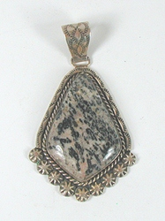Authentic Native American NOS sterling silver Jasper Pendant by Navajo artist James Martin