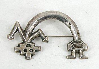 Vintage Navajo Sand Cast Yei Dancer Pin Stampwork Sterling Silver