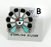 Vintage NOS Sterling Silver inlay sunface Pin