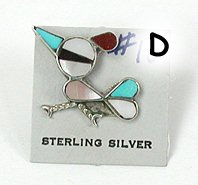 Vintage NOS Sterling  Silver inlay roadrunner Pin