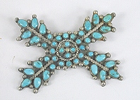 Vintage Native American sterlling silver turquoise cluster Pin