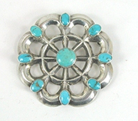 Vintage sterlling silver turquoise cluster wheel pin