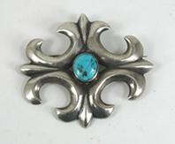 Vintage sterlling silver turquoise cluster pin