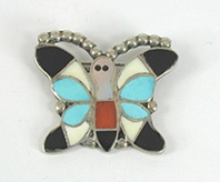 Authentic Native American Vintage sterlling silver Inlay Butterfly Pin by Zuni artist Nora Leekity
