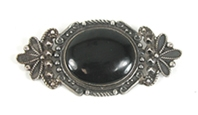 Vintage sterlling silver Onyx Pin