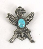 Vintage sand cast  sterlling silver and turquoise Knifewing Pin