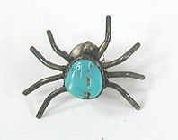 Vintage turquoise spider pin or tie tack
