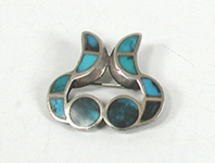Vintage sterlling silver Turquoise Inlay Pin
