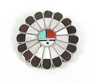 Vintage sterlling silver Inlay Sunface Pin