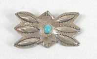 Vintage stamped sterlling silver Ibow Pin with turquoise
