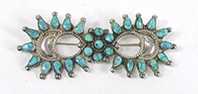 Vintage sterlling silver turquoise petit point Pin